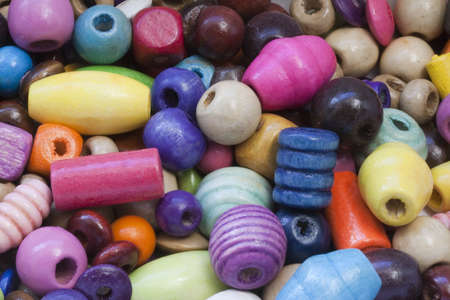 Close-up image of colourful wooden beads