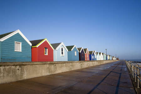 Beach Huts at Southwold, Suffolk , England, viewed along the promenade photo