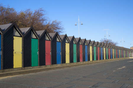 Colourful  Beach Huts at Lowestoft, Suffolk, England photo