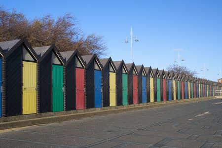 Colourful  Beach Huts at Lowestoft, Suffolk, England
