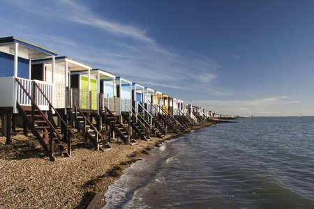 Beach Huts along the sea front at Thorpe Bay, near Southend-on-Sea, Essex, England photo