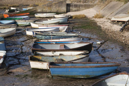 dinghies: A row of boats at Leigh-on-Sea, Essex, England