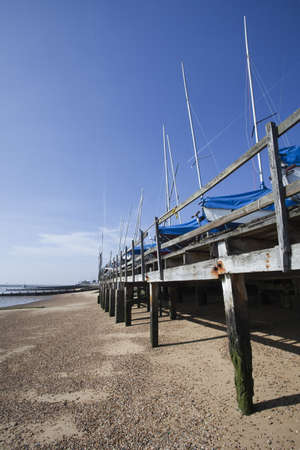 Boats in winter storage on Southend Beach, Essex, East Anglia, England