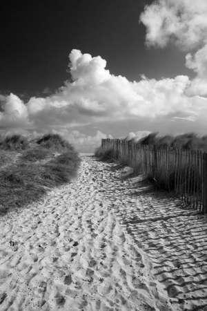 Black and white image of Walberswick Beach, Suffolk, England