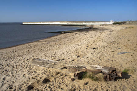 Beach and sea wall on Canvey Island, Essex, England Stock Photo