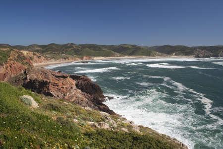 View across Amado Beach, Algarve, Portugal