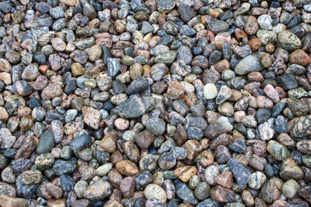 Close-up image of colourful pebbles on Balestrand Beach, Norway, Scandinavia