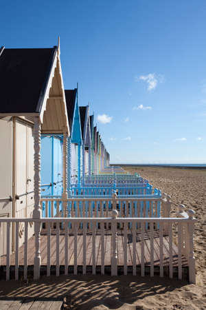 mersea: Colourful beach huts at West Mersea, Essex, England Editorial