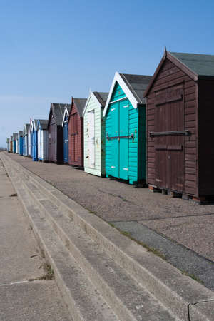felixstowe: Beach huts along the sea front at Felixstowe, Suffolk, England