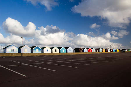 Colourful beach huts at Southwold, Suffolk , England, viewed from the car park  photo