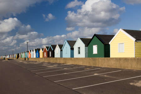 Colourful beach huts at Southwold, Suffolk , England, viewed from the car park. photo