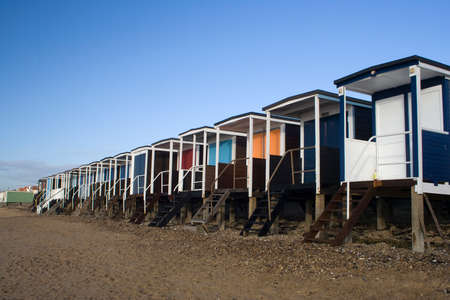 Beach Huts along the sea front at Thorpe Bay, near Southend-on-Sea, Essex, England