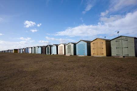 Beach Huts at Dovercourt, near Harwich, Essex, England Stock Photo