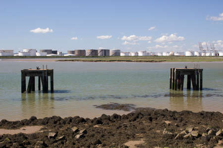 Disused platforms at Holehaven Creek, Canvey Island, Essex, England