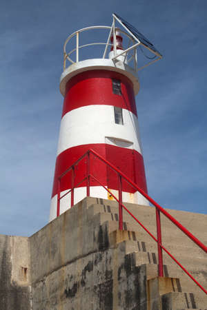 algarve: Red and white lighthouse at Sagres Algarve Portugal Stock Photo
