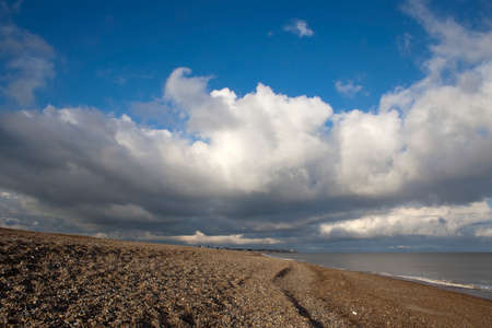 Storm clouds overThorpeness,viewed from the beach at Aldeburgh, Suffolk, England