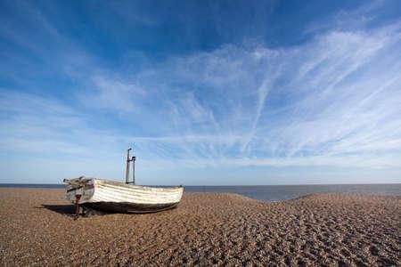 Fishing boat on Aldeburgh Beach in Suffolk, England