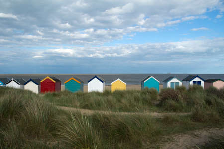 southwold: Colourful beach huts at Southwold, Suffolk , England Stock Photo