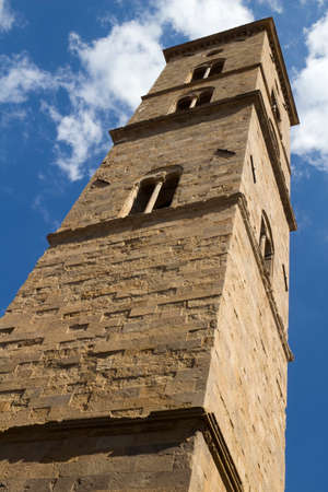 Close-up image of the bell tower,Volterra cathedral, Tuscany, Italy, Stock Photo