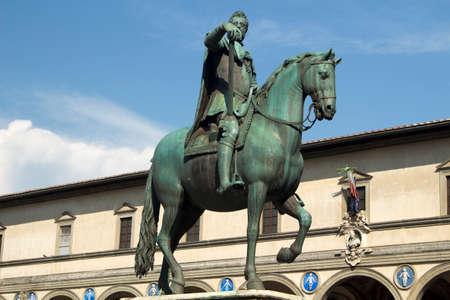 Equestrian statue of Duke Ferdinando I de Medici, Piazza Della Santissima Annunziata, Tuscany, Italy