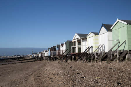 wood structure: Beach Huts at Thorpe Bay, near Southend-on-Sea, Essex, England Stock Photo
