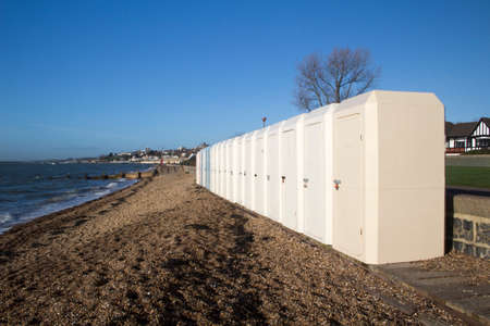 fibreglass: Fibre-glass changing huts located along Chalkwell Esplanade, near Southend-on-Sea, Essex, England