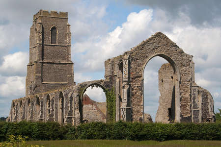 predecessor: The present day Church of St Andrew, at Covehithe,  Suffolk, England, built within the shell of its predecessor, now in ruins.