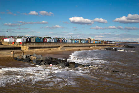 southwold: Southwold Sea Front, Suffolk, England, on a sunny day. Stock Photo