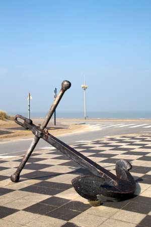 coastline: Old anchor along the Dunkirk Coastline, France