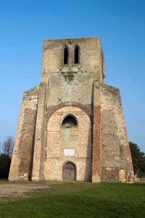 calais: Square Tower of Saint Winoc Abbey, Bergues, Nord Pas de Calais, France Stock Photo