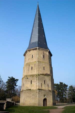 calais: Pointed Tower of Saint Winoc Abbey, Bergues, Nord Pas de Calais, France