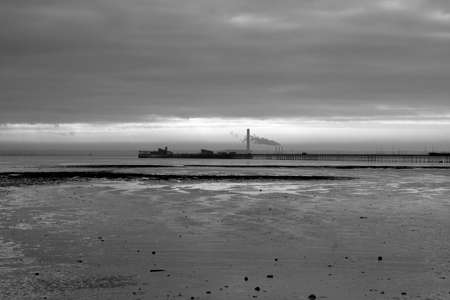 essex: Black and white image of Southend Pier, Southend-on-Sea, Essex, England Stock Photo