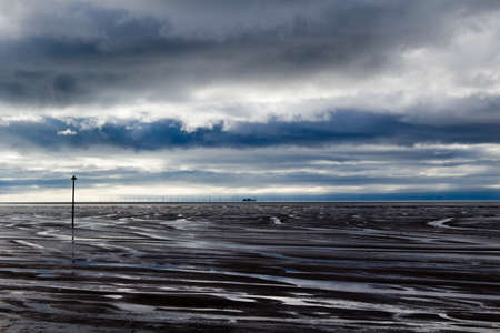 Hoylake Beach, Wirral, Merseyside, England, on a stormy day