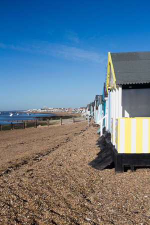 Beach Huts, Thorpe Bay, near Southend, Essex, England, with room for text