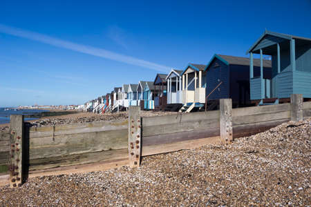 Beach Huts, Thorpe Bay, near Southend, Essex, England Stock Photo