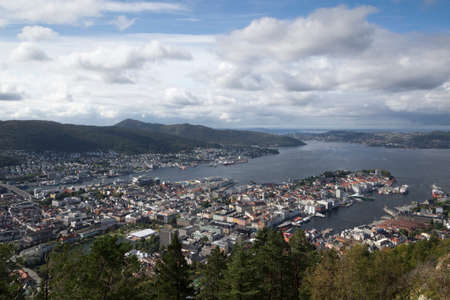 View from Mount Floyen, Bergen, Norway Editorial