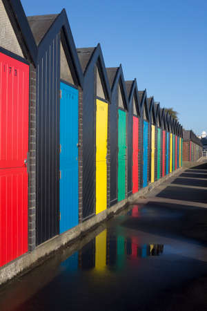 Colourful Beach Huts at Lowestoft, Suffolk, England Editorial