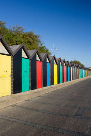 Colourful Beach Huts at Lowestoft, Suffolk, England Stock Photo