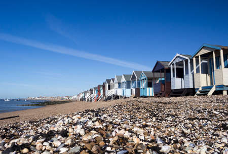 Beach huts at Thorpe Bay, near Southend-on-Sea, Essex, England Stock Photo