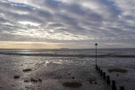 Bell wharf beach on a winter's day, Leigh-on-Sea, near Southend, Essex, England
