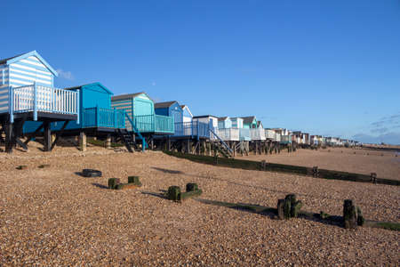Beach huts at Thorpe Bay, near Southend-on-Sea, Essex, England Stockfoto