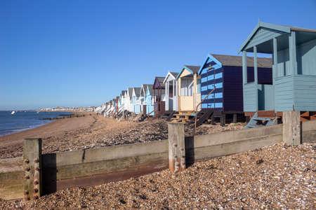 Beach huts at Thorpe Bay, near Southend-on-Sea, Essex, England Stock Photo