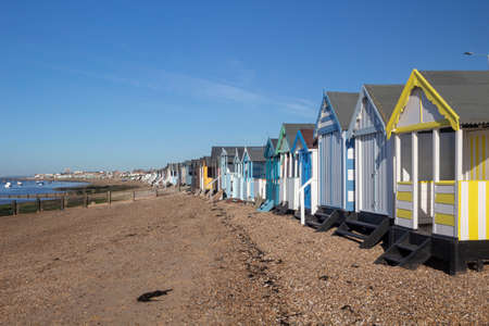 View along the beach from Thorpe Bay to Southend-on-Sea, Essex, England Stock Photo