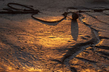 Golden light reflecting off the mud at Leigh-on-Sea, Essex, England
