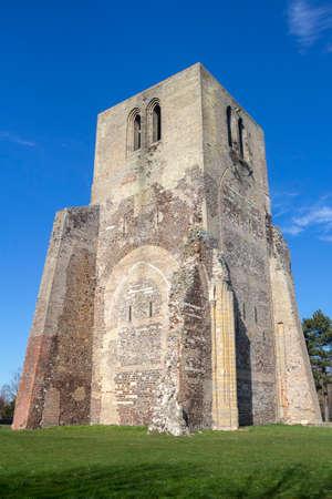 Square Tower of Saint Winoc Abbey, Bergues, Nord Pas de Calais, France Stock Photo