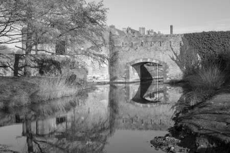 Black and white image of the ramparts in Bergues, northern France Stock Photo