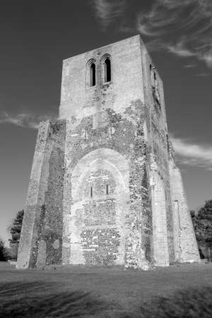 Black and white image of the Square Tower of Saint Winoc Abbey, Bergues, Nord Pas de Calais, France