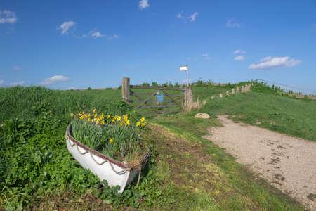 Ingresso a un percorso di briglia su Canvey Island, Essex, Inghilterra