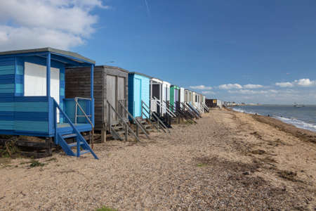 Beach huts at Thorpe Bay, near Southend-on-Sea, Essex, England 免版税图像