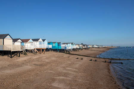 Beach huts on Thorpe Bay beach, near Southend, Essex, England